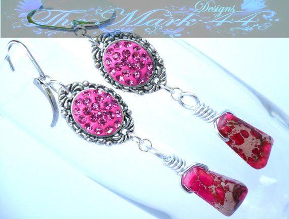 SALE 50% OFF Sparkly Pink Ocean Jasper $7 on Etsy  #giftsunder10 #ooak #handmade #themark44designs
