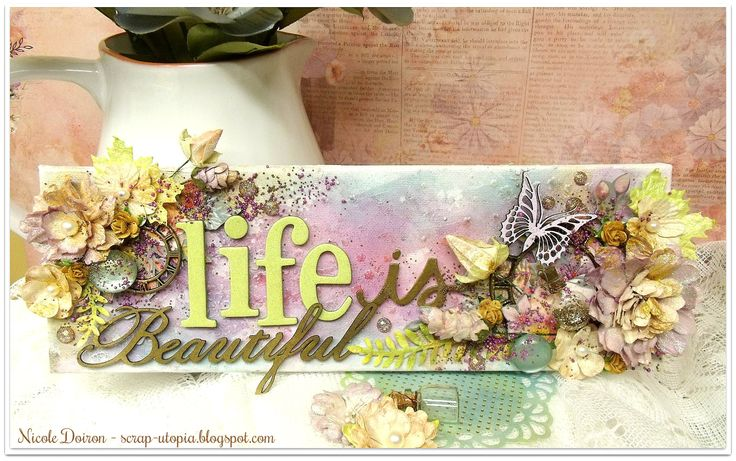 This is a mixed media 14 x 3 canvas inspired by the March BEAUTIFUL & BUTTERFLY Main Challenge at More Than Words and featuring products from the Scraps of Elegance February kit, 'Watercolor Wishes'. View details at http://scrap-utopia.blogspot.ca/2017/03/life-is-beautiful-canvas-more-than.html #scraputopia #scrapbooking #morethanwordschallenges #morethanwords #mtw #scrapsofelegancekits #soe #mixedmedia #mixedmediacanvas