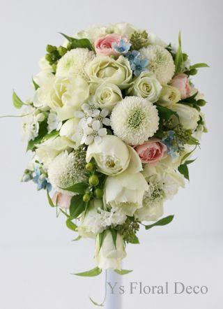ピンポンマムを入れたティアドロップブーケ  ys floral deco  @アニヴェルセル立川