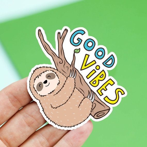 Sloth Sticker Party Gift Good Vibes Only Sloth Gift by TurtlesSoup