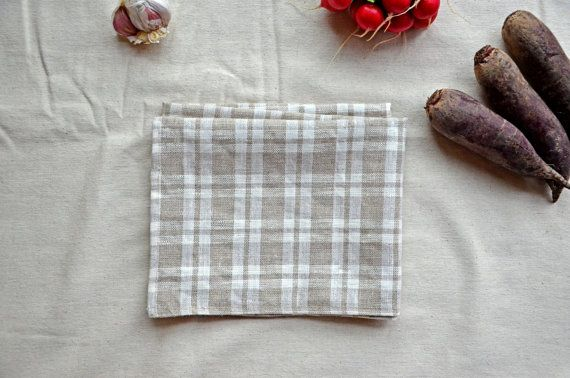 Plaid Linen fabric Coffe Tatran Tea Towel Flax Linen French Country Kitchen Grey White Check Rustic Decor Tartan Tea Towels Hand Towels