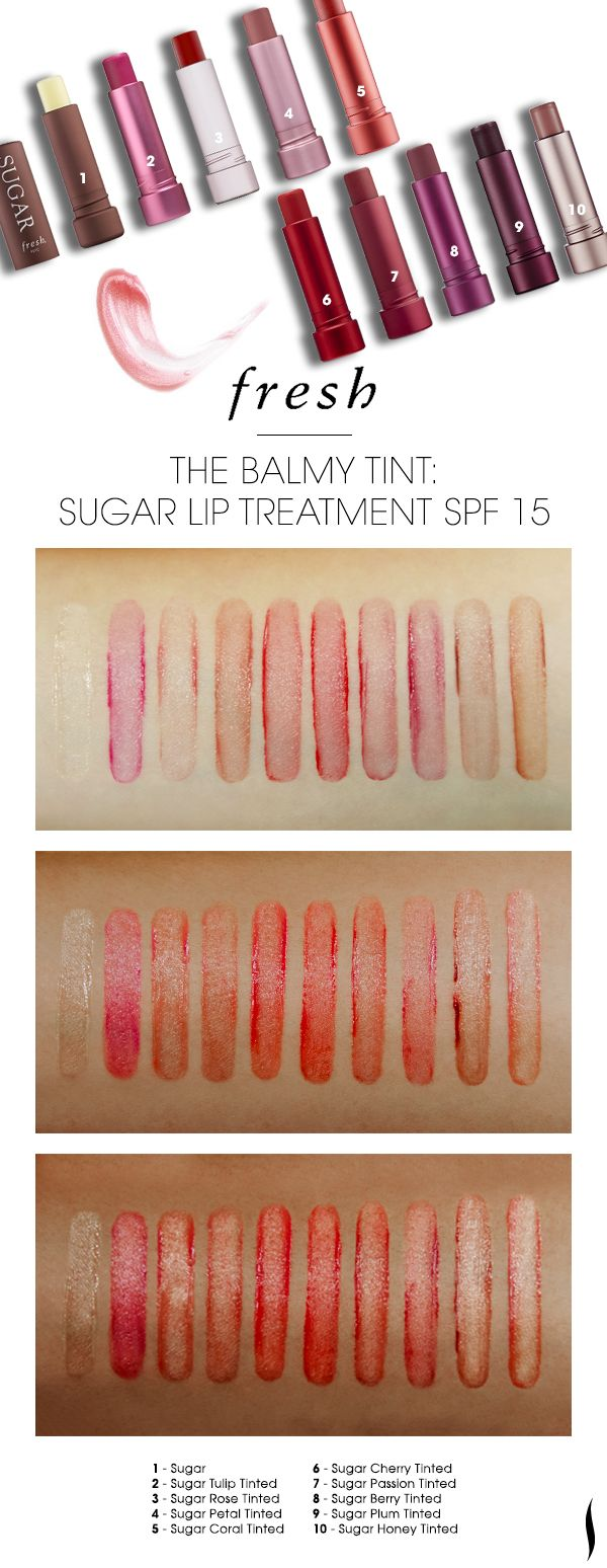 Got a sample of this and love it! Need another one. We swatched the shade range of Fresh Sugar Lip Treatment on various skintones.