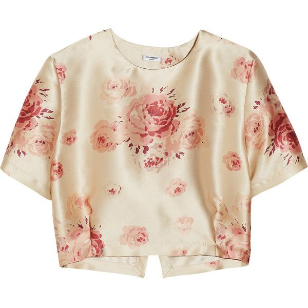 Vilshenko - Helen Floral-print Satin Top ($268) ❤ liked on Polyvore featuring tops, crop top, shirts, blouses, pink, antique rose, floral print tops, pastel tops, cut loose tops and floral tops
