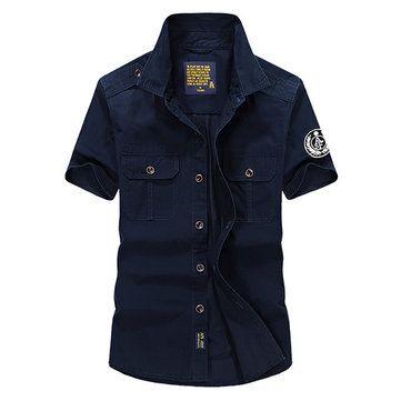 AFSJEEP Mens Outdoor Casual Cotton Epaulet Short Sleeve Summer Cargo Shirts at Banggood