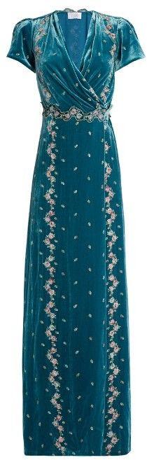 LUISA BECCARIA Floral-embroidered velvet dress