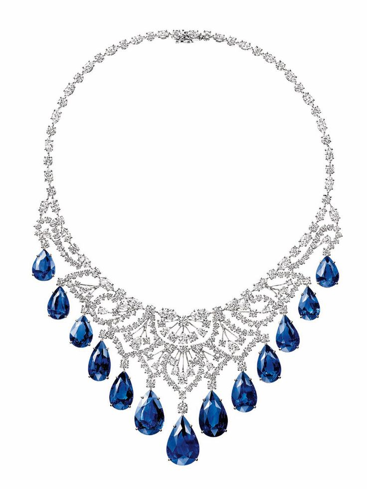 Harry Winstons gorgeous sapphire and diamond cascading necklace; 13 pear-cut sapphires, 146.71 carats; 225 brilliant-, marquise- and pear-cut diamonds, 42.49 carats. Platinum setting for the 2012 Biennale des Antiquaires.
