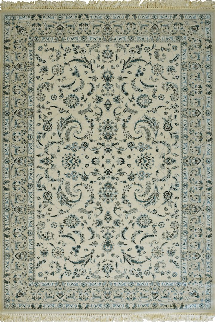 Caspian Persian Wool Border Rugs  75572 White Caspian Persian rugs have been crafted using premium wool featuring hand knotted fringes. A heavy quality rug that is beautifully soft to the touch with classic patterns inspired by master weavers of old, a touch of luxury for modern or classic spaces.