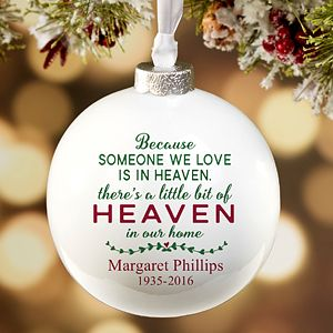 Personalize your Christmas tree with this decorative Heaven In Our Home Personalized Deluxe Globe Memorial Ornament. Find the best personalized Christmas ornaments at PersonalizationMall.com