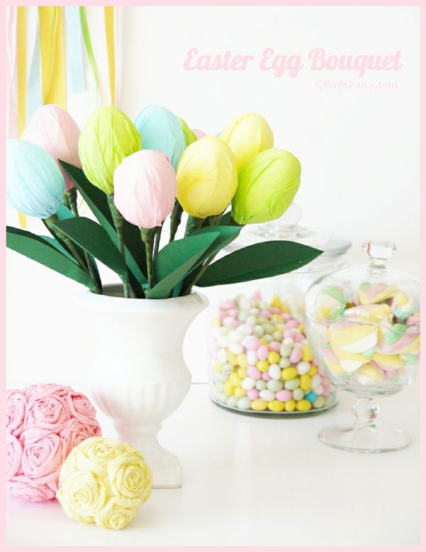 DIY Easter Egg Centerpiece Tutorial from @Bird's Party + 3 More Easter Party Ideas from @Chris Nease @Half Baked - The Cake Blog and @Kim {The Celebration Shoppe}
