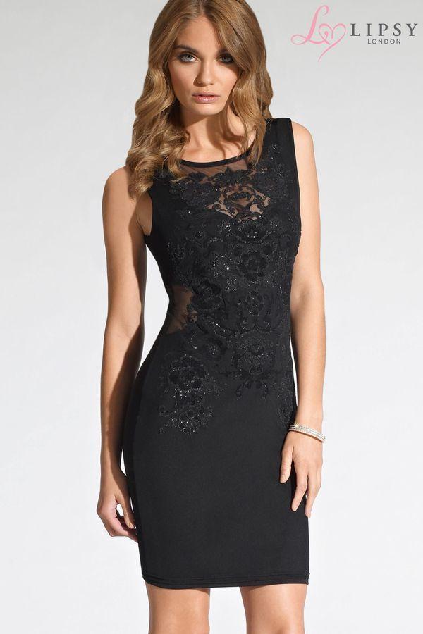 Lipsy Kleid mit Blumendruck und Netzstoffeinsatz