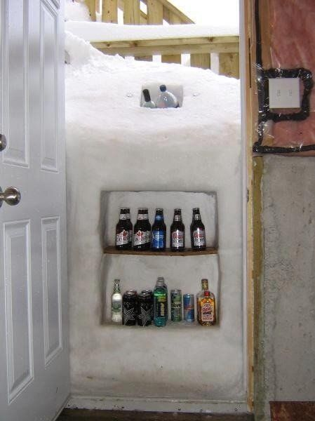 Not a fan of snow....but this sorta makes me jealous of the blizzard.  I want a snow fridge! Too funny!