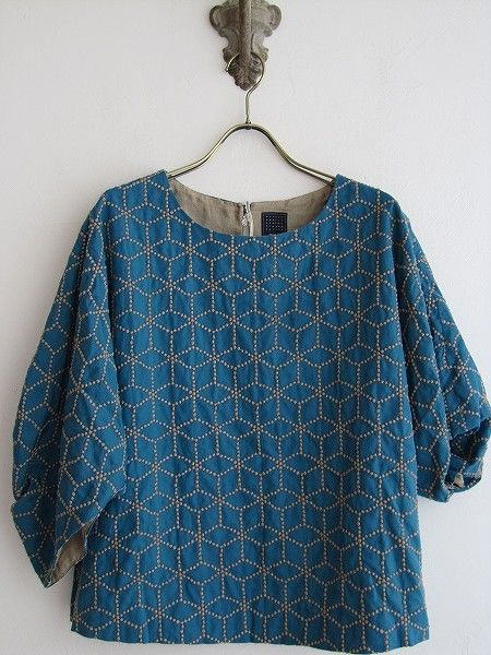 Here's a blouse by Mina Perhonen with a sashiko design (we have a stencil for this type of pattern too).