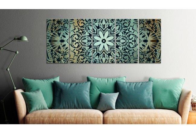 Che ne dite di un quadro in cinque pannelli, ispirato al simbolo di mandala? #quadro #quadri #quadroin5pannelli #mandala #oriente #zen #etnico #armonia #decorazionimurali #verde #bimago