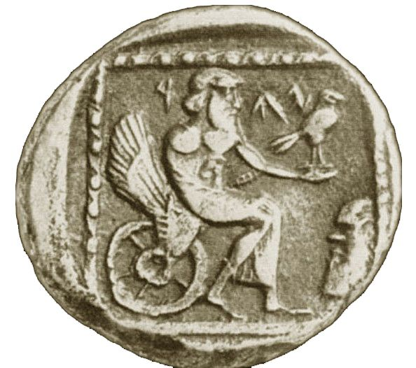 YHWH as 'Yahu' in a winged 'throne chariot,' holding a bird. Coin from Gaza, 4th century BCE.