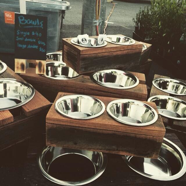 Recycled hardwood Timber pet bowl holders. Designed with love and made with 100% recycled Australian timbers.