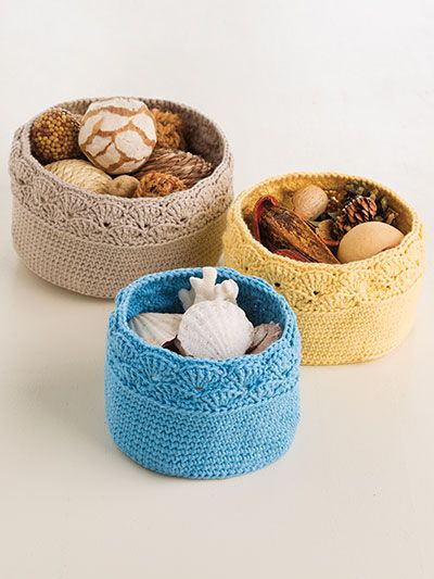Shell-Stitch Nesting Baskets Crochet Pattern