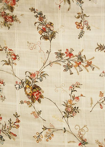 Date: 1796 Culture: British Medium: cotton Dimensions: Length at CB: 53 1/2 in. (135.9 cm) Credit Line: Gift of Mr. Alfred Lunt, 1955 Accession Number: C.I.55.50.4