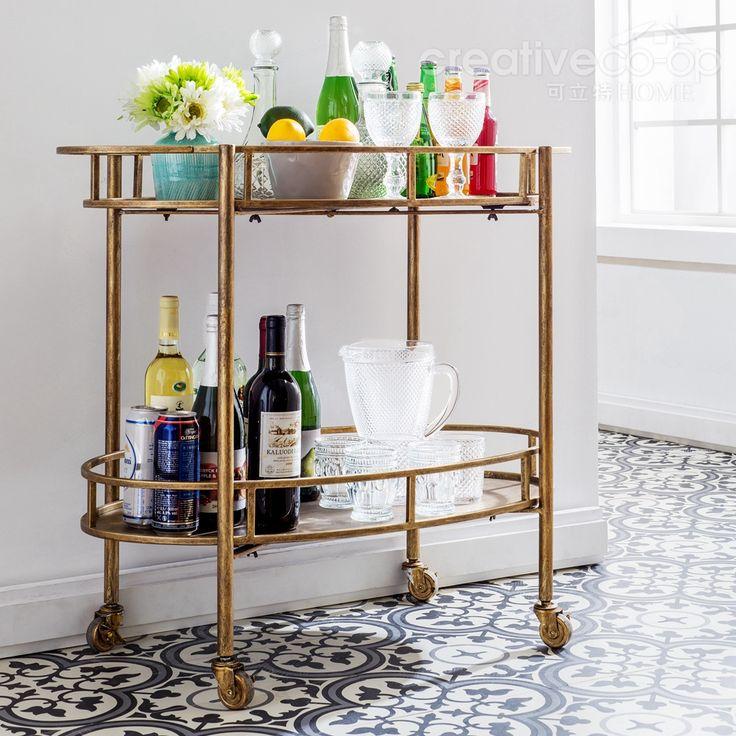 Kitchen Island Trolleys Gold Metal Bar Cart Creative Co Op Home