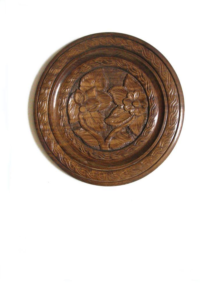 Holz Wand Kunst Teller geschnitzt Vintage rustikal Dekoration Holz Platte Tablett Medallion Folk Kunst Geschenk Haus Dekor von KunstLABor auf Etsy more: www.etsy.com/de/shop/KunstLABor