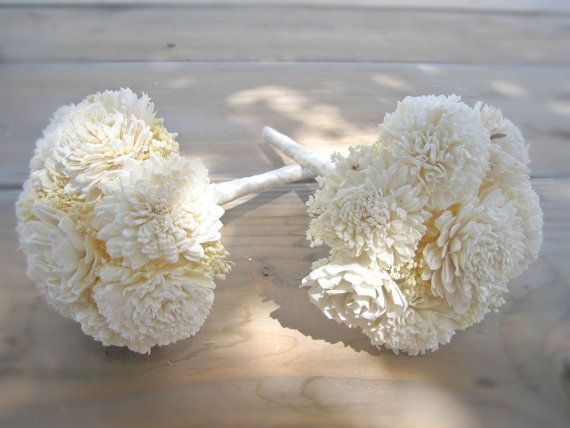 Bridesmaid Bouquet Toss or Flower Girl Custom Made Ivory White Dried Flowers Sola Flowers Shabby Chic Wedding