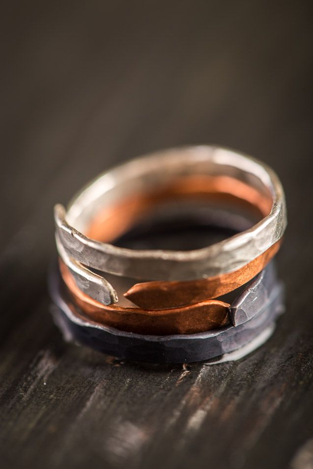 Hammered Stackable Puzzle Ring Set