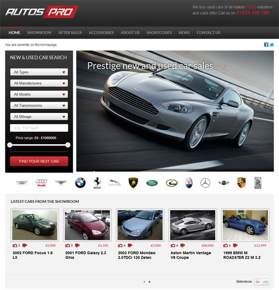 The WordPress theme for car dealerships features a responsive layout, custom page templates, an ads manager, a customizable vehicle search, social media integration, Google Fonts, and more.