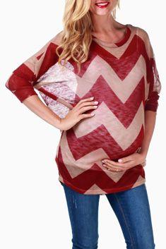 Burgundy Beige Knit Chevron Maternity Top #maternity #fashion