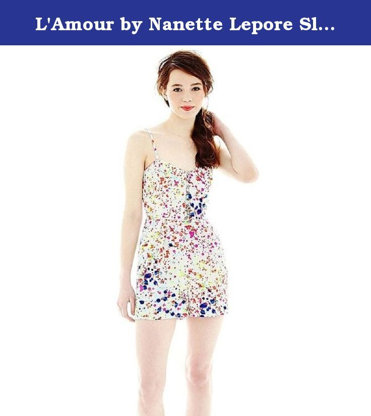 """L'Amour by Nanette Lepore Sleeveless Print Romper New Junior Size XL. Add a pop of color to your warm-weather wardrobe with our breezy, bold print romper, complete with fun decorative front buttons. zip closure 2 side pockets 2⅞"""" inseam polyester washable imported sku~1."""