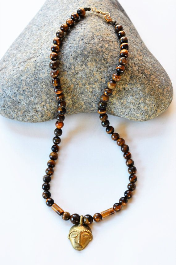 Tigers eye men necklace African tribal beaded by Akweleydesign
