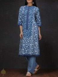 Buy Beige Black Madder Block printed Cotton Kurta by Jaypore Women Kurtas Online at Jaypore.com