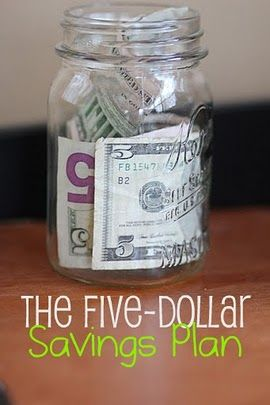 "The five dollar savings plan: sounds easy enough. Every time a five dollar bill comes into my hands put it in a ""savings"" jar/drawer. I would also put the money in a separate account at the bank every time I saved 50.  I think it could eventually pay for my girls weddings. Hmm, I think I need to start using cash instead of my debit, or just get cash back with part of the change a five. :)"