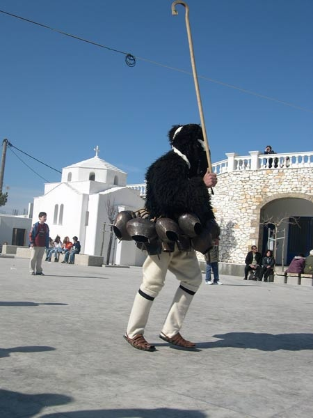 Skyros Carnival: A lone gores in the main square.