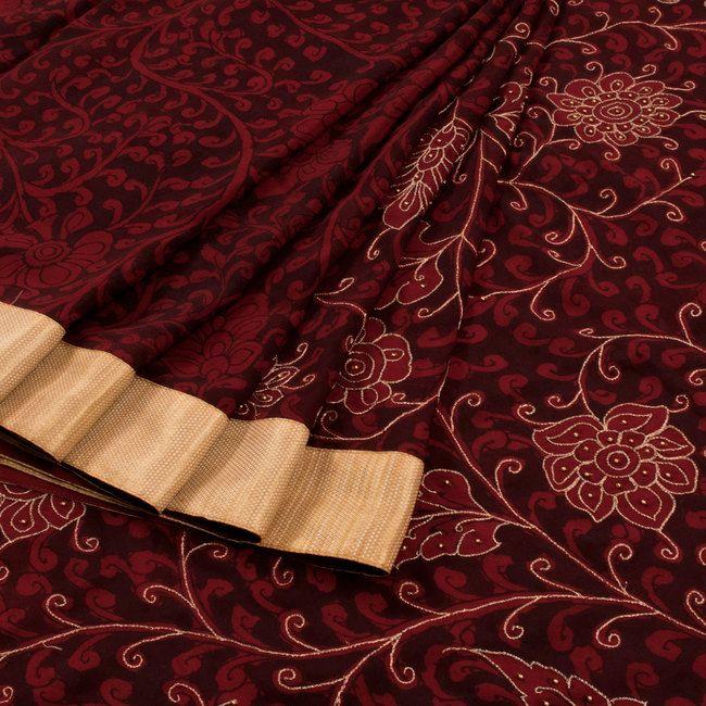 Hand Painted & Embroidered Maroon Pen Kalamkari Crepe Silk Saree With Brocade Border & Without Blouse 10011539 - AVISHYA.COM