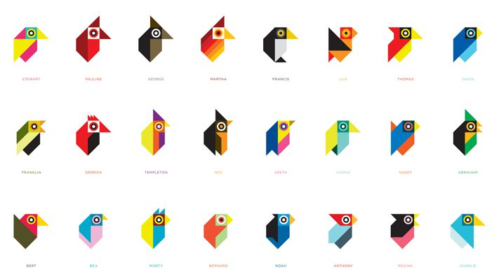 Love these super simplified birds by Tony Buckland.