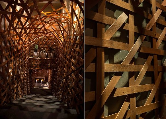 Handmade  wood arch in PPL. Design by @yunamegre Megre Interiors. #arch #interior #design #restaurant