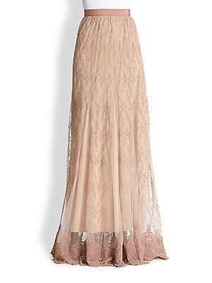 Alice + Olivia Louie Emboidered Lace Maxi Skirt