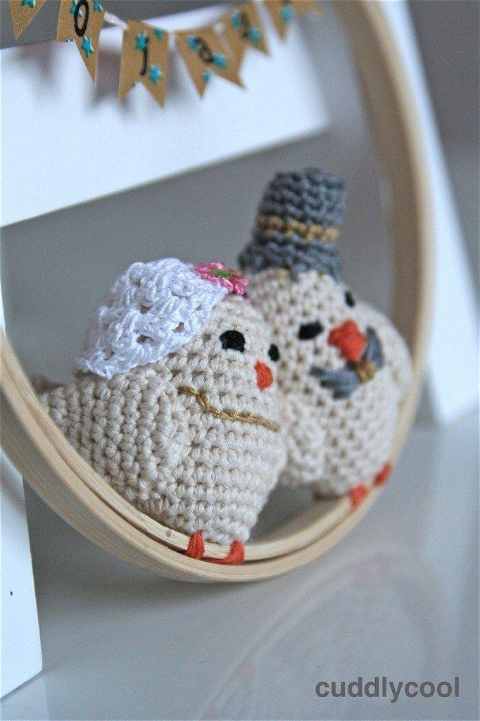 Gehaakt Bruidspaar Vogeltjes Voor 50 Jarig Huwelijk Cuddlycool Love