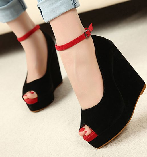 Sweet Style Peep Toe Buckle Black Wedges Shoes