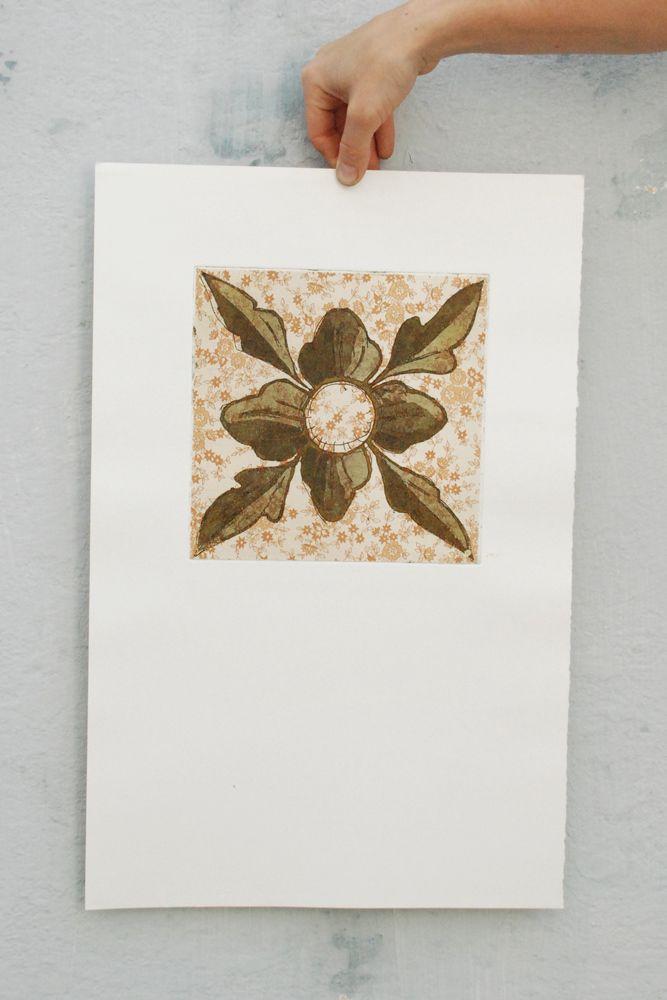 Azulejo de papel I - calcografia e chine collé - walter Almeida 2014