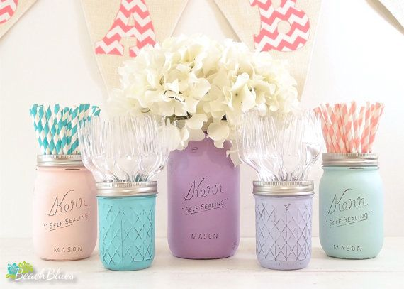 Frozen Baby Shower Centerpiece Painted Mason Jars Birthday Decor