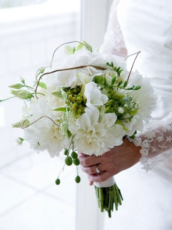 white and green rustic dahlia bouquet by #finchandthistle