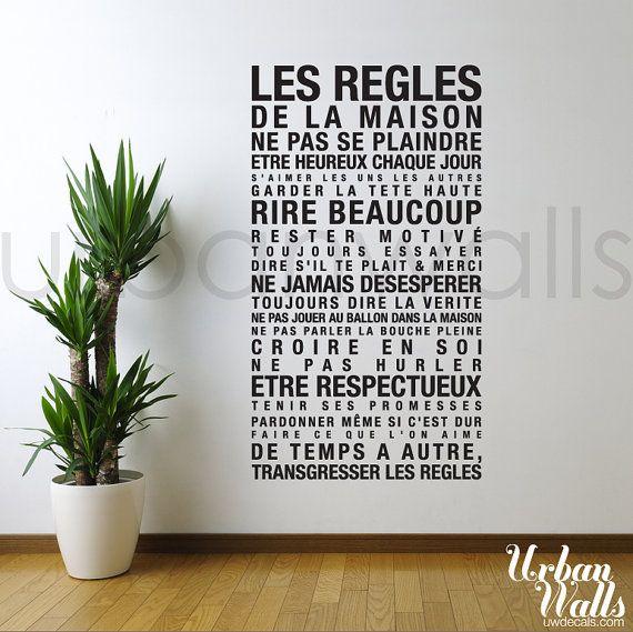 Vinyl Wall Decal Sticker Art, French House Rules les regles de la maison c etait bien là que je l avais vu la premiere fois