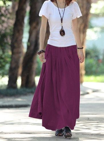 Long Skirts for Women | Purple red women skirt fashon skirts Long Skirts Linen Skirt