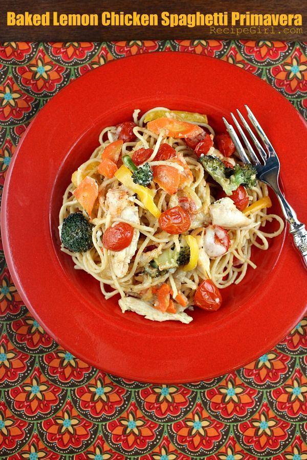 Baked Lemon Chicken Spaghetti Primavera. Broccoli, carrot, yellow bell pepper, chicken, cherry tomatoes and pasta with a creamy lemon sauce.