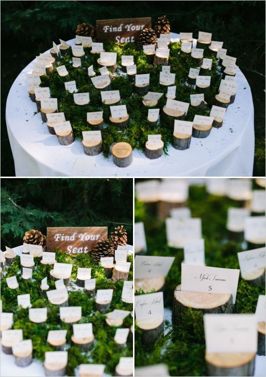Romantic Woodland Big Bear Wedding for under $24,000/wood escort card holder ideas