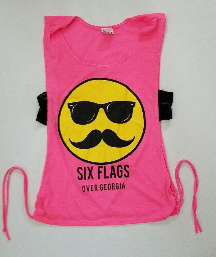 Six Flags Women Junior Theme Park T-Shirt Sexy Size Medium Pink Mustache | Clothing, Shoes & Accessories, Women's Clothing, T-Shirts | eBay!