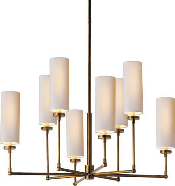 Large Ziyi Chandelier in Hand Rubbed Antique Brass with Natural Paper Shades | blocklighting.com