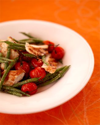 This is very good, but I roasted the tomatoes at 325 for about 30 minutes.Chicken Recipe, Chicken Salad, Bbq Chicken, Jamie Olive, Warm Green, Green Beans, Grilled Chicken, Beans Salad, Bean Salads