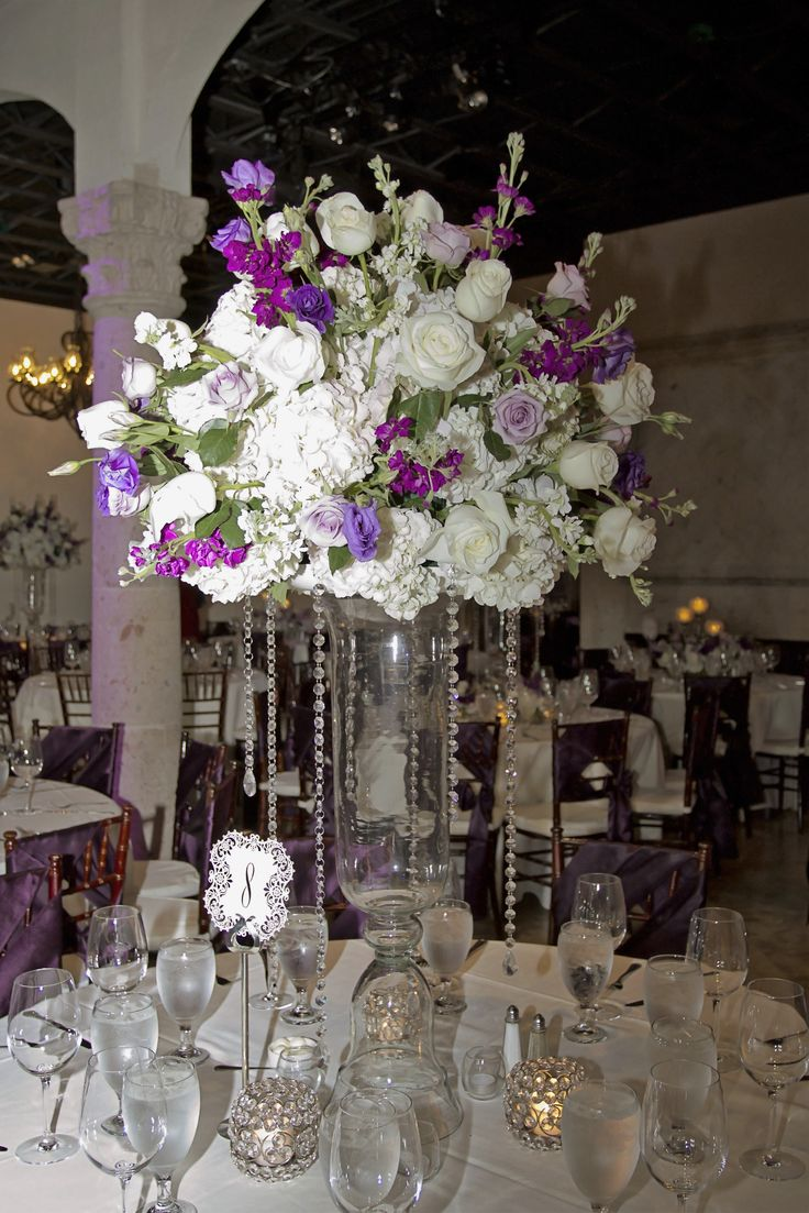 Wedding table centerpiece our tall glass vase with floral