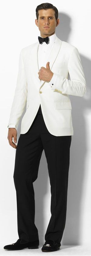 White dinner jacket by Ralph Lauren with a shawl lapel. ♥✤ | KeepSmiling | BeStayHandsome